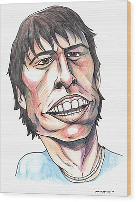 Dave Grohl Caricature Wood Print by John Ashton Golden