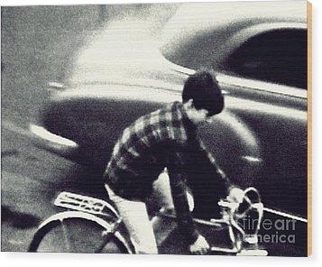 Dave On A Bike Wood Print by Patricia Strand