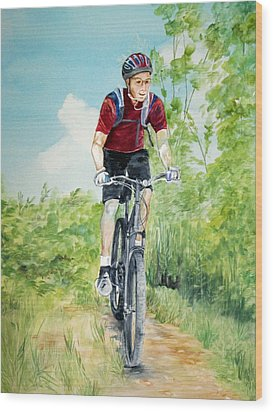 Wood Print featuring the painting Dave On The Trail by Ellen Canfield