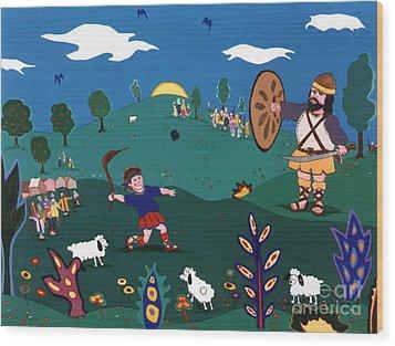 David And Goliath Wood Print by Joyce Gebauer