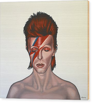 David Bowie Aladdin Sane Wood Print by Paul Meijering