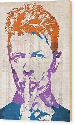David Bowie Wood Print by Paulette B Wright