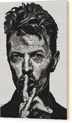 David Bowie - Pencil Wood Print by Doc Braham
