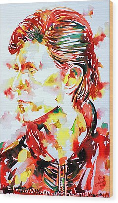 David Bowie Watercolor Portrait.1 Wood Print by Fabrizio Cassetta