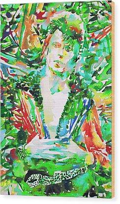 David Bowie Watercolor Portrait.2 Wood Print