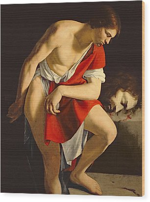 David Contemplating The Head Of Goliath Wood Print by Orazio Gentileschi