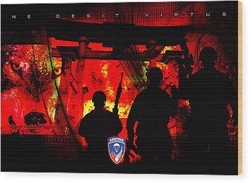 David Cook Los Angeles 187th Regiment Rakkasan Ne Desit Virtus Artwork Wood Print by David Cook Los Angeles