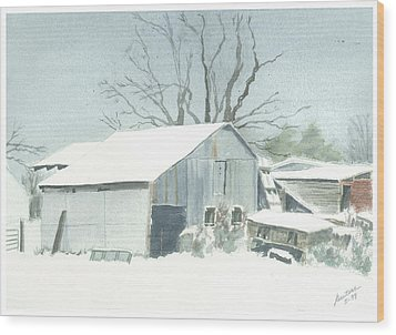 Wood Print featuring the painting David Hoyles Shed by Joel Deutsch