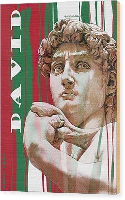 David - Michelangelo - Stylised Modern Drawing Art Sketch  Wood Print by Kim Wang