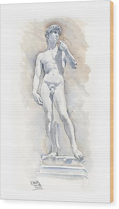 David Sculpture By Michelangelo Wood Print by Maddy Swan