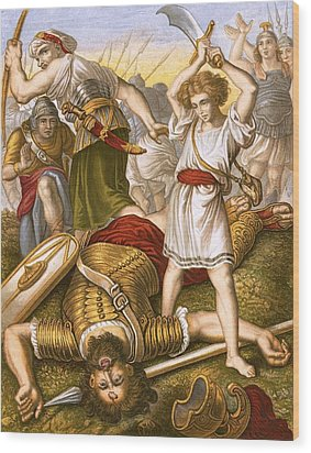 David Slaying Goliath Wood Print by English School