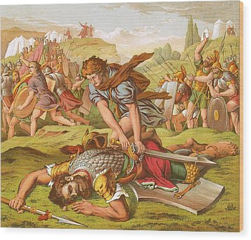David Slaying The Giant Goliath Wood Print by English School