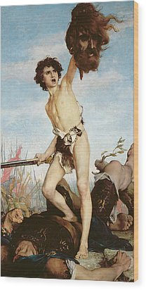 David Victorious Over Goliath Wood Print by Gabriel Joseph Marie Augustin Ferrier