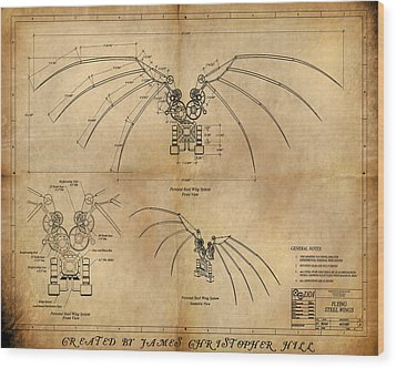 Davinci's Wings Wood Print by James Christopher Hill