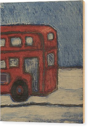 Wood Print featuring the painting Davis Unitran Bus by Clarence Major