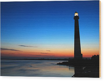 Wood Print featuring the photograph Dawn At Barnegat Light by James Kirkikis