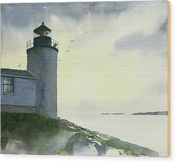 Dawn At Bass Harbor Lighthouse Wood Print