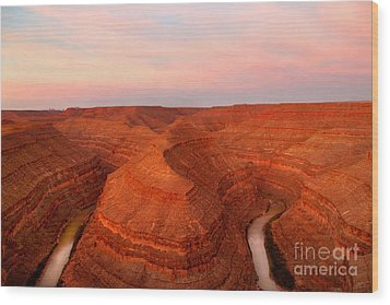 Dawn At Goosenecks Of The San Juan River Wood Print by Douglas Taylor