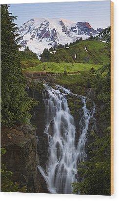 Dawn At Myrtle Falls Wood Print