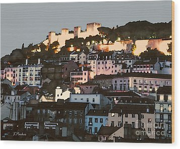 Dawn At St. George Castle Lisbon Wood Print by Linda  Parker