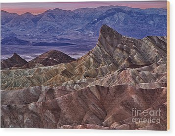 Wood Print featuring the photograph Dawn At Zabriskie Point by Jerry Fornarotto