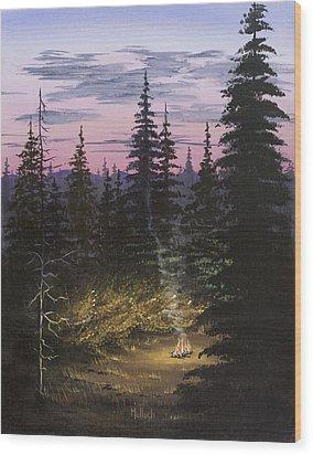 Dawn Fire Wood Print