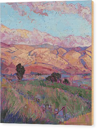 Dawn Hills - Left Panel Wood Print by Erin Hanson