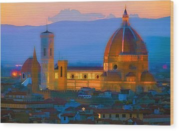 Dawn In Florence Wood Print