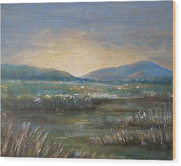 Wood Print featuring the painting Dawn by Jane  See