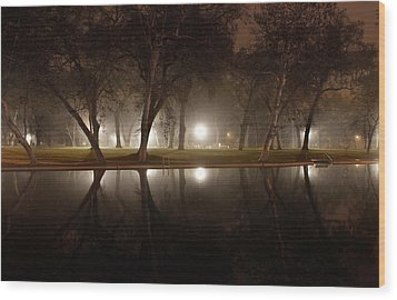 Dawn Mist Rising At Sycamore Pool  Wood Print