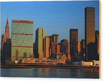 Dawn On Manhattan Wood Print by James Kirkikis