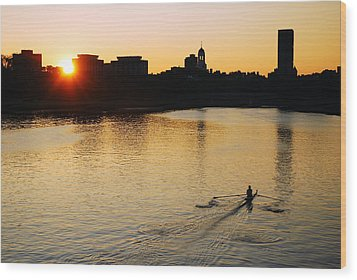 Dawn On The Charles Wood Print by James Kirkikis