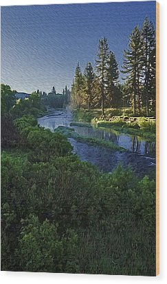 Dawn On The River Wood Print by Nancy Marie Ricketts