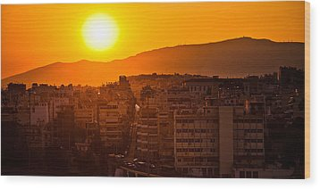 Dawn Over Athens Wood Print