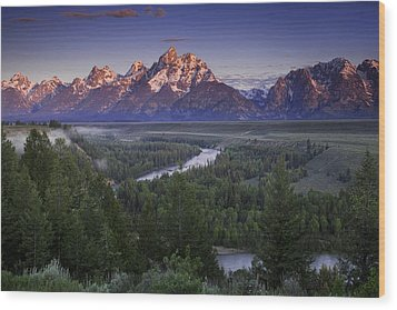 Dawn Over The Tetons Wood Print