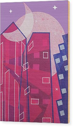 Dawn To Dusk In The City Wood Print by Julia and David Bowman