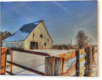 Dawns Barn Wood Print by Thomas Danilovich