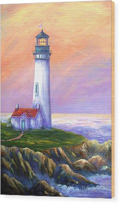 Dawn's Early Light Yaquina Head Lighthouse Wood Print