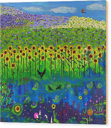 Day And Night In A Sunflower Field I  Wood Print by Angela Annas