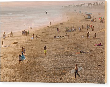 Day At The Beach - Sunset Huntington Beach California Wood Print