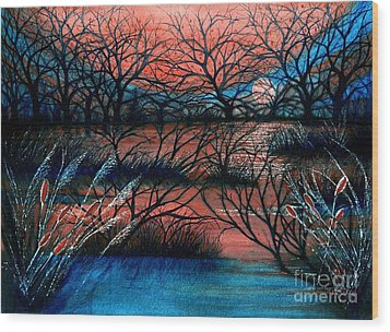 Day Is Done October Sky Wood Print by Janine Riley