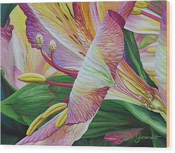 Day Lilies Wood Print by Jane Girardot