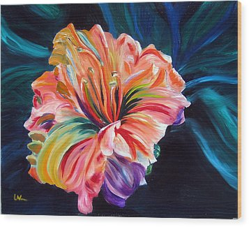 Wood Print featuring the painting Day Lily by LaVonne Hand