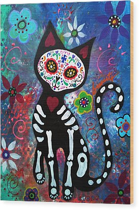 Day Of The Dead Cat Wood Print