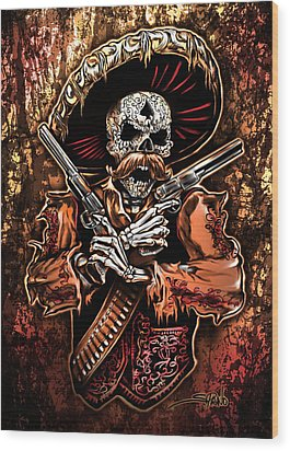 Day Of The Dead Gunslinger Wood Print by Michael Spano