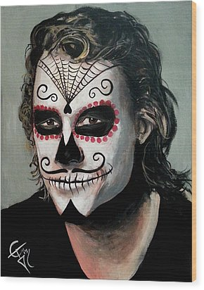 Day Of The Dead - Heath Ledger Wood Print by Tom Carlton
