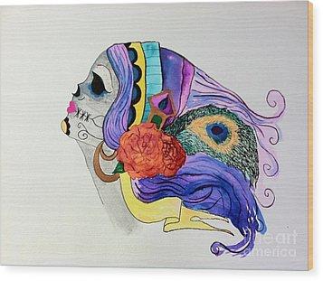 Day Of The Dead Lady 2 Wood Print by Melissa Darnell Glowacki