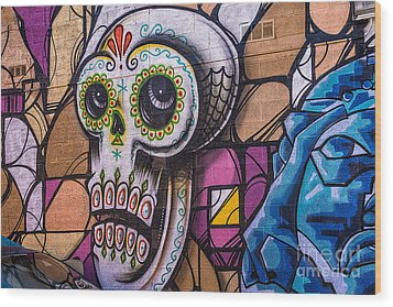 Day Of The Dead Mural Wood Print by Terry Rowe