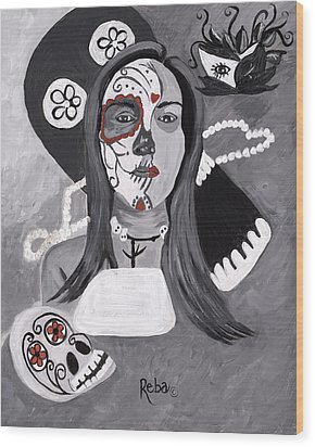 Day Of The Dead Wood Print by Reba Baptist