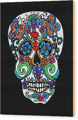 Day Of The Dead Skull Wood Print by Genevieve Esson